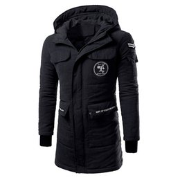 Wholesale Trend Fashion Jacket Korean - Wholesale- Men's winter new stylish casual Korean Slim thickening long section cotton-padded hooded simple solid color trend jacket M-5XL
