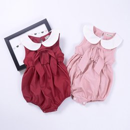 Wholesale Dolls Tutus - Ins Style Baby Girls Summer Rompers Baby Solid Sleeveless Clothes Suit Fart Clothes Doll Collar Sleeveless Baby Children Clothes 009#