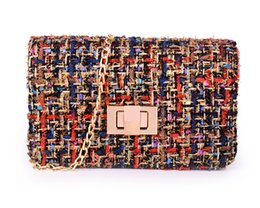 Wholesale Big Hair Weave - 2017 new women weave bag chain package Europe and the United States big shoulder Messenger bags wool hair lock holding small square bag