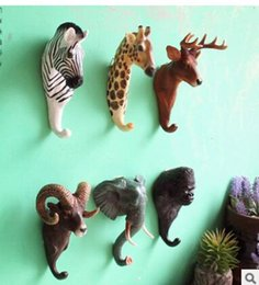 Wholesale Wholesale Wall Paper China - Elephant creative personality wall Stereo animal ornament Hook resin handicraft Wall hook wholesale 2pcs