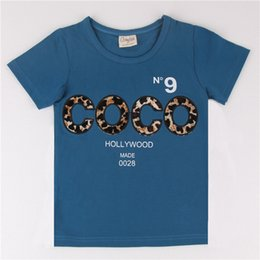 Wholesale Leopard Prints Kids Fashion - kids Clothing Round Neck Cotton Leopard Print Letter Pattern Short Sleeve Boys Outfit High Quality Tshirt Fashion Style Basic Section Tee