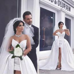 Wholesale Taffeta Line Appliqued Dress - Modest 2017 Arabic Sweetheart Short Lace Appliqued Beaded Wedding Dresses With Long Detachable Train High Low Bridal Gowns EN8074