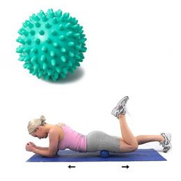 Wholesale Massage For Back - 9cm Spiky Point Massage Ball Roller Reflexology Stress Relief for Palm Foot Arm Neck Back Body Random Color Fast Shipping ZA1917