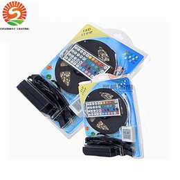 Wholesale 12v Dc Led Light Strips - 5050 RGB LED Strips Lights SMD 300 LED 60LED M Flexible LED light roll Waterproof IP65 with 44keys Controller +12V 5A power supply