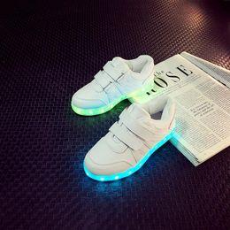 Wholesale Boy Slippers - USB charging white&black Childrens Shoes with Light up Basket Led slippers kids enfants tenis for Boy Girl light up trainers VAN