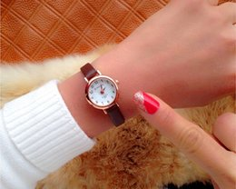 Wholesale Young Ladies Watches - 2017 Memorial gift Nice Style women creative slim strap watch golden white graceful young girl elegant fashion quartz lady watches