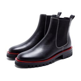 Wholesale Thick Punk Boots - Genuine leather high street fashion mixed color ankle boots slip on thick med heels winter punk style motorcycle boots