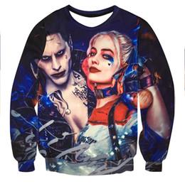 Wholesale hoodies joker - Wholesale- Men women Hoodie Sweatshirt 3D Print Joker Harley Quinn Suicide Squad Hip Hop Hoodies Tracksuit Sweat Shirt Character Hooded