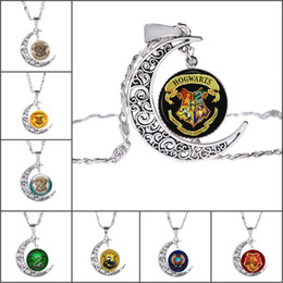 Wholesale Gem Jewelry - film jewelry for fans Hogwarts Glass Cabochon Necklaces Moon Time Gem Pendants for Women Jewelry Gift 161810