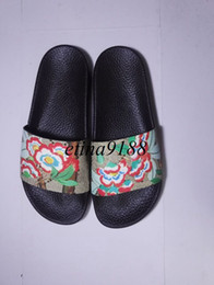 Wholesale Womens Flower Flat Sandals - new arrival 2017 mens and womens fashion causal flower print slide sandals many colors size euro34-45