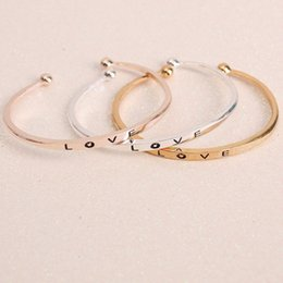 Wholesale United Love - Hot Jewelry Environmentally Friendly Alloy Bangle Simple LOVE Opening Europe and the United States Style Bracelet for Women Good Gift