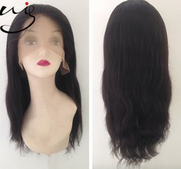 Wholesale Human Hair Super Long Wig - super promotion free shipping Fast Delivery best quality virgin human hair wigs natural straight wave black full lace wig for women