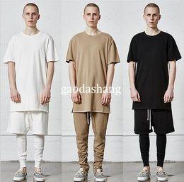 Wholesale Mens Plain Clothing - New kpop streetwear hip hop kanye west pilots oversized t-shirts mens urban clothing plain extended longline t shirts M-XL