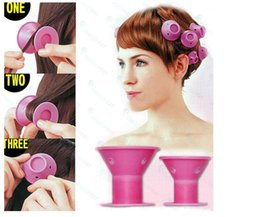 Wholesale Rollers Hair - silicone curlers 10Pcs set Hairstyle Soft Hair Care DIY Peco Roll Hair Style Roller Curler Salon Soft Silicone Pink Color Hair Roller