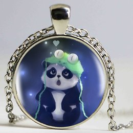 Wholesale Fine Baby Jewelry - 1pcslot Fashion Funny Baby Panda Pendants Cabochon Sliver Long Chain Statement Necklace For Man Woman Fine Jewelry as Gifts