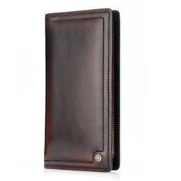 Wholesale Handmade Cowhide Purses - Men Clutch Wallet 100% Genuine Leather Wallet Men Handmade Zipper Around Purse Brushoff Leather Clutches Bag Phone M1016