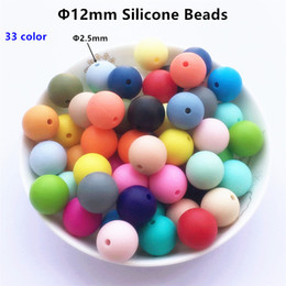 Wholesale Solid 12mm Beads - Chenkai 100pcs 12mm BPA Free Round Silicone Teether Beads DIY Baby Shower Pacifier Dummy Chain Clip Chewing Jewelry Teethers Toy