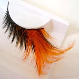 Pestañas naranjas online-Pestañas falsas de color naranja Puro maquillaje hecho a mano de algodón Pestañas falsas Pestañas de plumas de color con alas Pestañas suaves exageradas