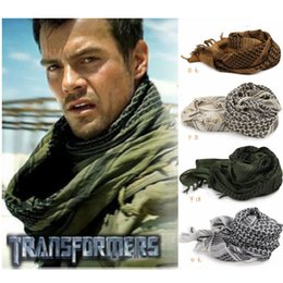 Wholesale Head Scarf Camping - ArmyTactical Arab Shemagh KeffIyeh Cotton Shawl Scarves Camping Paintball Head Scarf Face Mesh Desert Wrap Bandanas