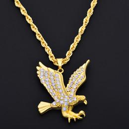 Wholesale Eagle Pendant Necklace - Hip Hop Gold Eagle pendant necklace Gold Full Of Rhinestone HipHop rock style long necklace for Men Woman NE779