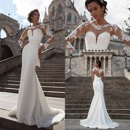 Wholesale Custom Shirt Designer - 2017 Milla Nova Lace Mermaid Wedding Dresses Sheer Long Sleeves Summer Beach Bridal Gowns Beaded Sash Tulle Back