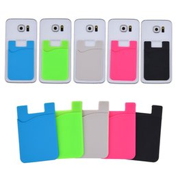 Wholesale silicone credit card case - Silicone Wallet Credit ID Card Cash Pocket Sticker Adhesive Holder Pouch Mobile Phone 3M Gadget For Cable eaphone ipad SCA348