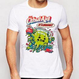 Wholesale Cool Cartoon Shirts - Wholesale- Funny Design Cartoon Cthulhu R'lyeh Pouring Cold Cthul-Aid T Shirt Summer Mens Fashion Cool Short Sleeve Tee Shirt Tops