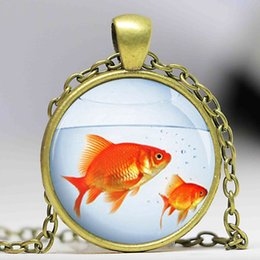 Wholesale Wholesale Aquarium Fish Gifts - Goldfish Necklace Fish Aquarium Jewelry Glass Photo Pendant Necklace