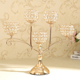 Wholesale Chandelier Tea Light Holder - Home Decor Crystal Candle Holder Event Party Supplies Centerpieces Decoration Dining Tabletop Accessories Candlestick Candelabra Pillars