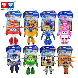 Wholesale Airplane Wings - 8PCS Set AULDEY Super Wings Mini Airplane ABS Robot toys Action Figures Super Wing Transformation Jet Cartoon Children Kids Gift