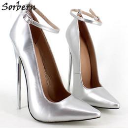 "Wholesale Latex Rubber Bondage - Sorbern 18Cm 7"" Stiletto Fetish Dress Shoes Sharp Toe Ankle Strap High Heel Pumps Spike Metal High Heel Bondage Bdsm Latex High Heels"