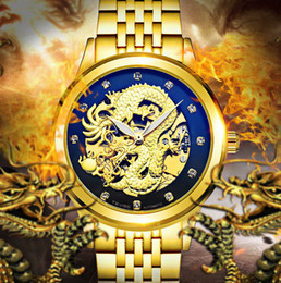 Wholesale Dragon Totem - 3D China Dragon Totem Skeleton Automatic Mechanical Watch Vintage Dragon Master Watch Men Business Watch Luxury Diamond Watches