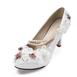 Wholesale White Large Size Wedding Shoes - Large size 41-47 Elegant white Wedding Shoes Lace up Flower bridal Shoes High Heels Women Pumps 8cm 4.5cm 3cm Free Shipping