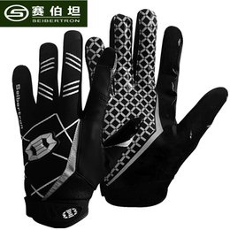 Wholesale Plain Gloves - seibertron Sports Receiver Glove American Football Gloves Rugby Glove Youth and Adult size XS S M L XL Color black