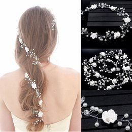 Wholesale Bridemaid Flowers - Z&F Wedding Headpieces 1.1 Meter Long Wedding Headbands Flowers Beads Pearl Pins Comb Charming For Long Hair Bridemaid