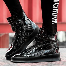 Wholesale Cheap High Fashion For Men - Cheap red bottom High Top sneakers for men Luxury black Silver Spikes fashion casual mens shoes ,2017 Designer leisure trainers footwear