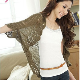 Wholesale Wholesale Long Sleeve Shrugs - Wholesale-11 Colors Cardigans Batwing Crochet Lace Open Stitch Cardigan Summer Style Sweater Small Thin Cape Outerwear Shrugs For Women