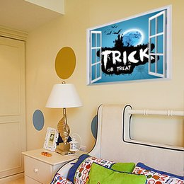 Wholesale Dimensional Stickers Wall - Halloween supplies bat castle three-dimensional The window wall stickers Festive Event Party Decoration