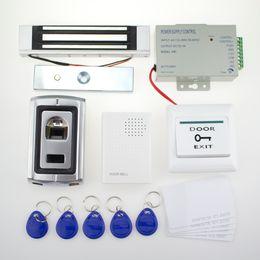 Wholesale Id Card Models - Wholesale- Full fingerprint access control system F007II model+power supply+magnetic lock+door exit button+door bell+keyfobs+ID card