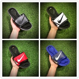 Wholesale Leather Comfort Slippers - 2017 New Discount Solarsoft Comfort Slide Sandals Cheap Fashion Men Women Black White Red Blue Sponge Sports Slippers Size 36-44