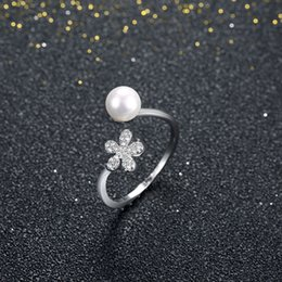 Wholesale Shell Mother Pearl Rings - New Fashion Arrivals 925 Sterling Silver Rings Women Pearl Crystal Zircon Rings 925 Sterling Silver Jewelry For Women Gift Love Engagement