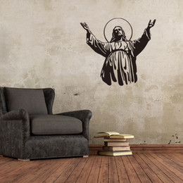 Wholesale God Wall Decal - 57x51cm God Jesus Vinyl Wall Stickers Removable Art Mural for Home Decoration Kids' Bedroom