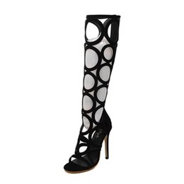 Wholesale Shoes Ladies Club - Wholesale-New 2016 women summer boots sexy cut outs knee high boots women sandals party club shoes high heels gladiator sandals for ladies