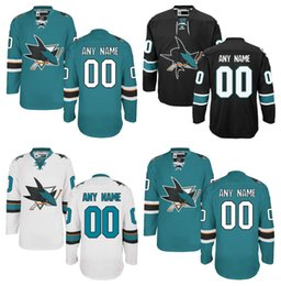 Wholesale Sharks Hockey - Lowest Price ! Customized San Jose Sharks Jerseys Green Black White Custom NHL Hockey Jerseys Stitched Any Name Number
