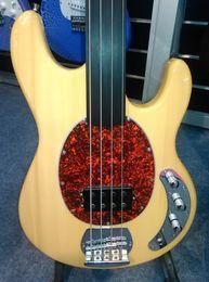 Wholesale Bass Single - Music Man 4 Strings Bass Erine Ball StingRay Natural Yellow Electric Bass Guitar Fretless Fingerboard Red Turtle Shell Pickguard Single PU