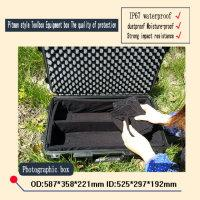 Wholesale Plastics Equipment - waterproof tool case 2500 equipment case trolley Sealed toolbox Photographic Instrument case with pre-cut foam lining 587*358*221mm