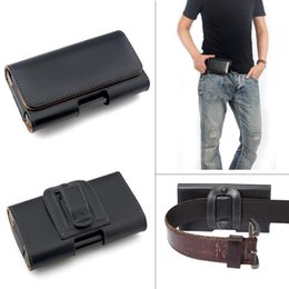 Wholesale Iphone Leather Pouch Sleeve - Leather Waist Hang Case Mobile Phone Cover Belt Holster Clip Pouch Sleeve for 4.5 5.5 5 inch all Cell Phone