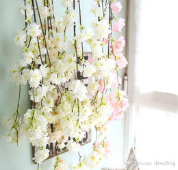 Wholesale Home Party Marketing - Sakura cherry blossom garland3 colors 135cm L artificial silk decoration flowers for home wedding party market holiday decoration 31581