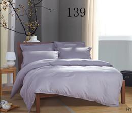 Wholesale Double Set 4pc - luxury Satin stripe 100% Cotton Duvet Cover Hotel Bed Set Color Single double bed 4PC Bedding in Bag Home Textiles