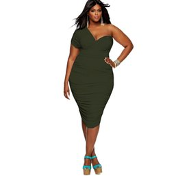 Wholesale Hot Sale Dresses For Work - Off Shoulder Sexy Dress Women Fat People Oversized Dresses For Female Hot Sale Solid Color Bandage Stretchable dress LMT-031